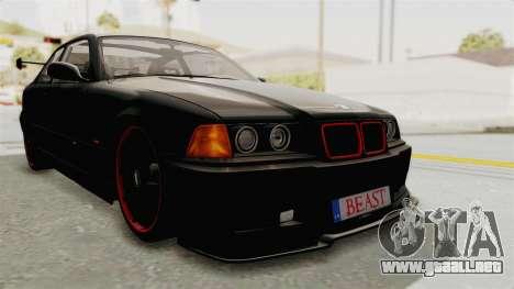 BMW M3 E36 Beast para GTA San Andreas vista posterior izquierda