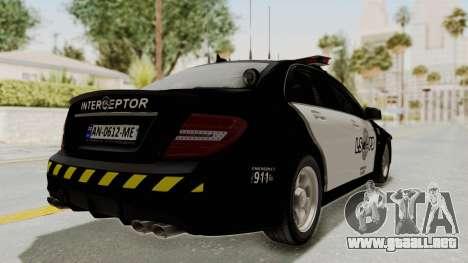 Mercedes-Benz C63 AMG 2010 Police v2 para la visión correcta GTA San Andreas