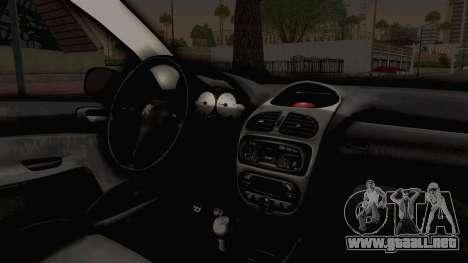 Peugeot 206 Full para visión interna GTA San Andreas