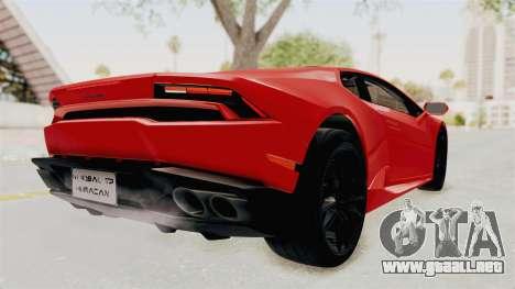 Lamborghini Huracan 2014 Stock para GTA San Andreas vista posterior izquierda