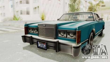 GTA 5 Dundreary Virgo Classic Custom v3 para GTA San Andreas vista hacia atrás