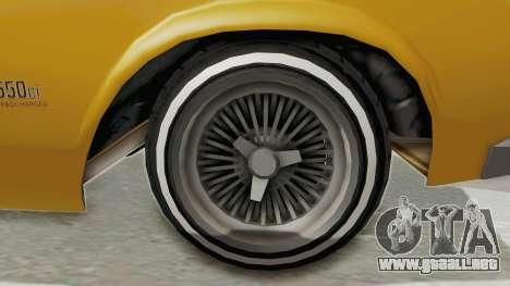 GTA 5 Declasse Sabre GT2 B IVF para GTA San Andreas vista hacia atrás