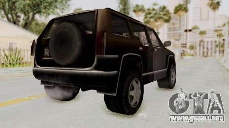 Landstalker from GTA 3 para GTA San Andreas vista posterior izquierda