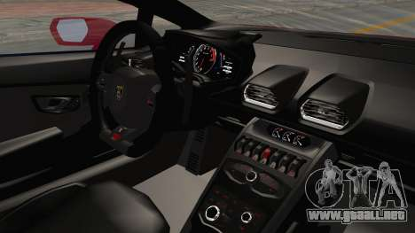 Lamborghini Huracan 2014 Stock para visión interna GTA San Andreas