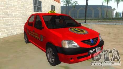 Dacia Logan Scoala para GTA San Andreas vista hacia atrás