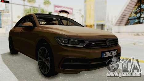 Volkswagen Passat B8 2016 RLine IVF para la visión correcta GTA San Andreas