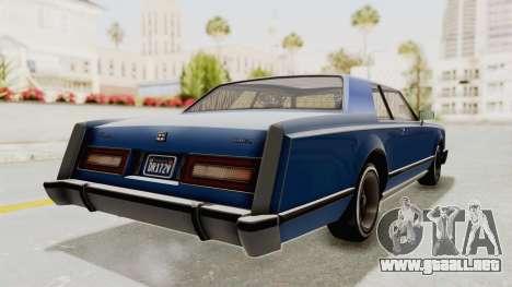 GTA 5 Dundreary Virgo Classic Custom v1 IVF para GTA San Andreas vista posterior izquierda