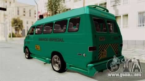 Dodge Ram Van Microbus 1977 para GTA San Andreas vista posterior izquierda