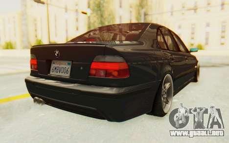 BMW M5 E39 M-Tech USDM para GTA San Andreas vista posterior izquierda