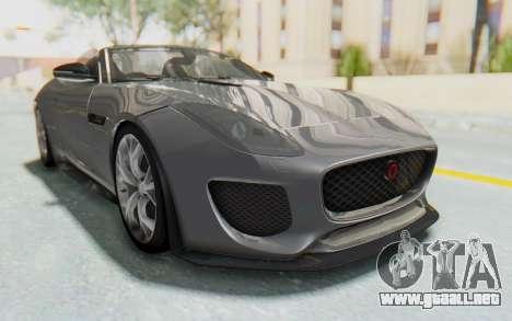 Jaguar F-Type Project 7 para GTA San Andreas vista posterior izquierda