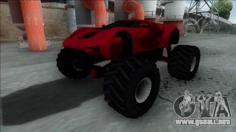 GTA V Vapid FMJ Monster Truck para GTA San Andreas vista posterior izquierda