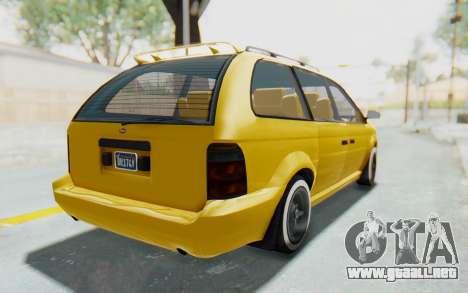 GTA 5 Vapid Minivan Custom IVF para GTA San Andreas vista posterior izquierda