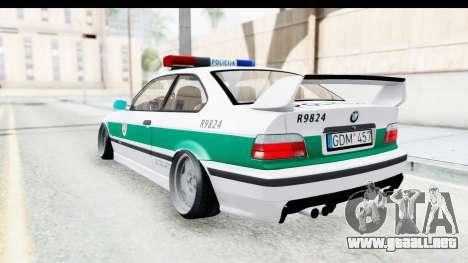 BMW M3 E36 Stance Lithuanian Police para GTA San Andreas vista posterior izquierda