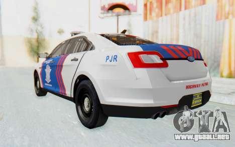 Ford Taurus Indonesian Traffic Police para la visión correcta GTA San Andreas