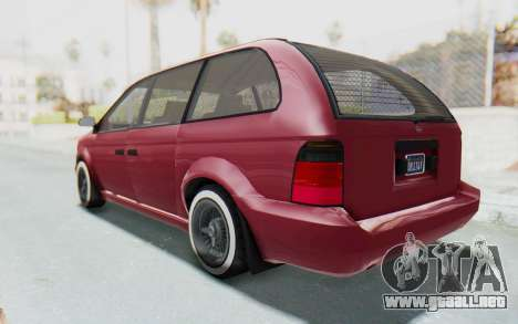 GTA 5 Vapid Minivan Custom without Hydro para GTA San Andreas vista posterior izquierda