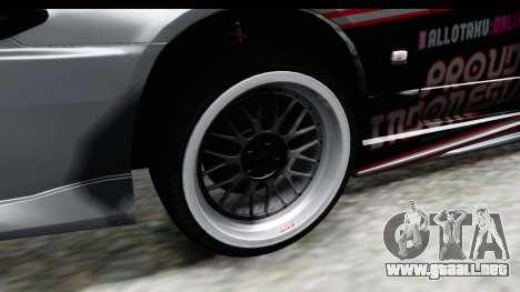Nissan Silvia S15 Itasha para GTA San Andreas vista hacia atrás