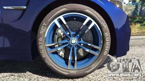 GTA 5 BMW M4 2015 v0.01 vista lateral trasera derecha