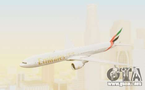 Boeing 777-300ER Emirates para GTA San Andreas vista posterior izquierda