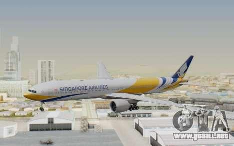 Boeing 777-300ER Singapore Airlines v2 para GTA San Andreas vista posterior izquierda
