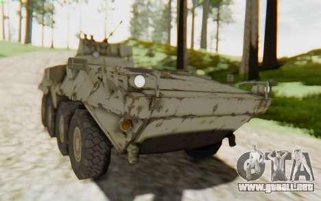 MGSV Phantom Pain STOUT IFV APC Tank v2 para GTA San Andreas vista posterior izquierda
