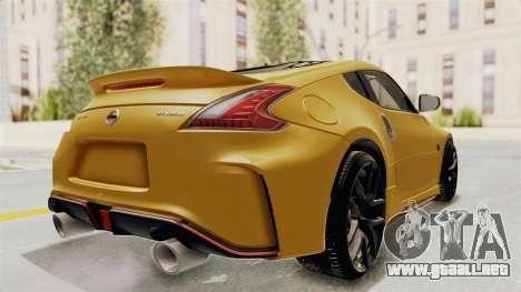 Nissan 370Z Nismo Z34 para GTA San Andreas vista posterior izquierda