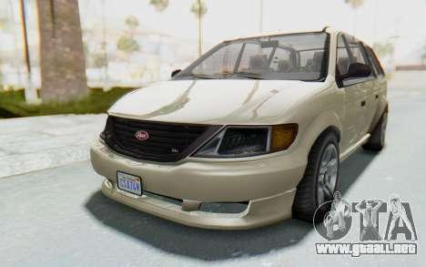 GTA 5 Vapid Minivan IVF para GTA San Andreas vista posterior izquierda