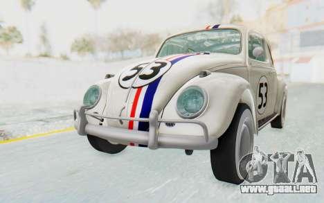 Volkswagen Beetle 1200 Type 1 1963 Herbie para la visión correcta GTA San Andreas