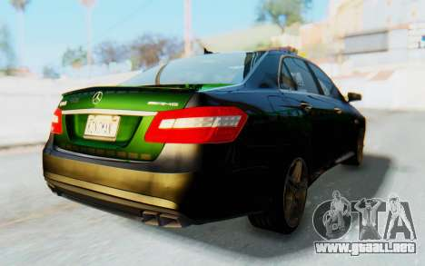 Mercedes-Benz E63 German Police Green para GTA San Andreas vista posterior izquierda