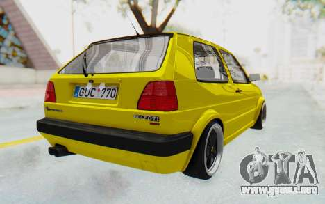 Volkswagen Golf Mk2 Lemon para GTA San Andreas vista posterior izquierda