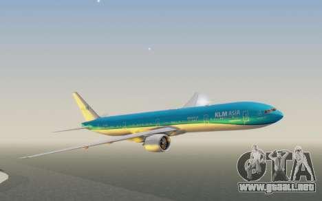 Boeing 777-300ER KLM - Royal Dutch Airlines v2 para GTA San Andreas vista posterior izquierda
