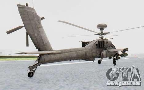 AH-64 Apache Desert para GTA San Andreas vista posterior izquierda