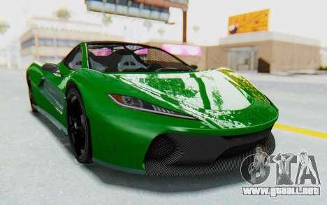 GTA 5 Progen T20 Devil PJ para GTA San Andreas vista posterior izquierda