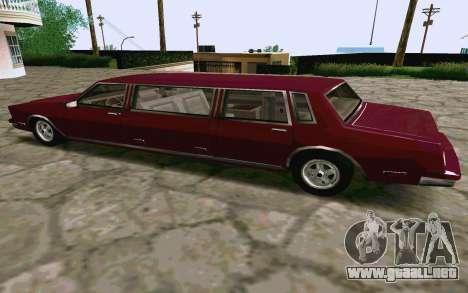 Tahoma Limousine v2.0 (HD) para GTA San Andreas vista posterior izquierda