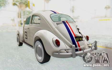 Volkswagen Beetle 1200 Type 1 1963 Herbie para GTA San Andreas vista posterior izquierda