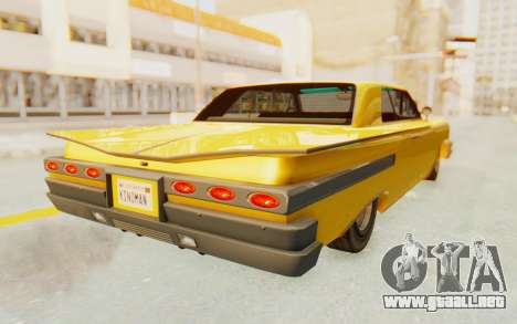 GTA 5 Declasse Voodoo PJ SA Lights para GTA San Andreas vista posterior izquierda