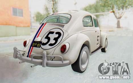 Volkswagen Beetle 1200 Type 1 1963 Herbie para GTA San Andreas left