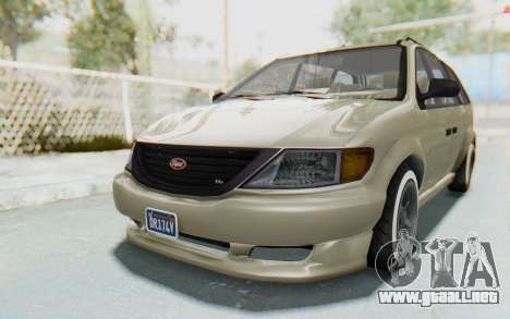 GTA 5 Vapid Minivan Custom without Hydro IVF para GTA San Andreas vista posterior izquierda