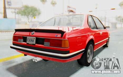 BMW M635 CSi (E24) 1984 IVF PJ2 para GTA San Andreas vista posterior izquierda