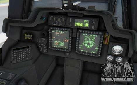 AH-64 Apache Desert para visión interna GTA San Andreas