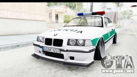 BMW M3 E36 Stance Lithuanian Police para la visión correcta GTA San Andreas