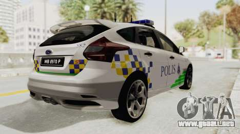 Ford Focus ST 2013 PDRM para GTA San Andreas left