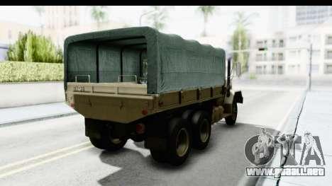 AM General M35A2 Sand para GTA San Andreas vista posterior izquierda