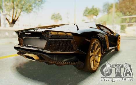 Lamborghini Aventador LP700-4 Light Tune para GTA San Andreas vista posterior izquierda