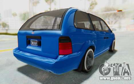 GTA 5 Vapid Minivan Custom para GTA San Andreas vista posterior izquierda