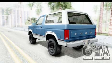 Ford Bronco 1980 Roof para GTA San Andreas left