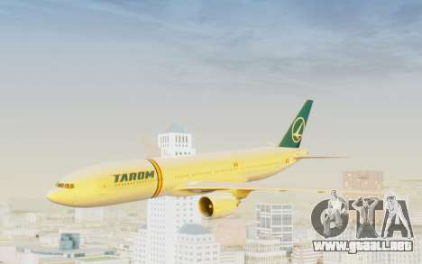 Boeing 777-200 TAROM Romania para GTA San Andreas vista posterior izquierda
