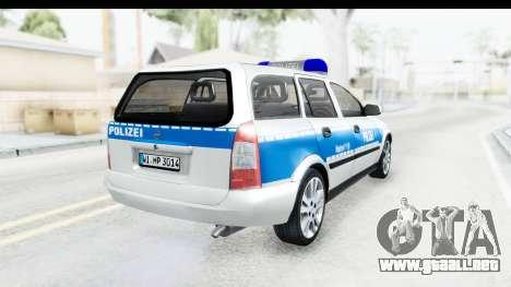 Opel Astra G Variant Polizei Hessen para GTA San Andreas vista posterior izquierda