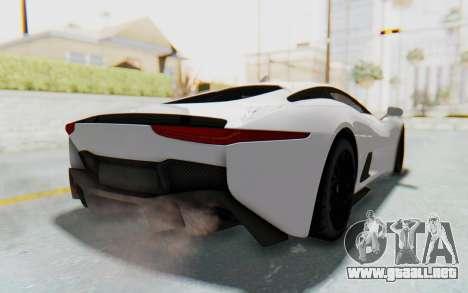 Jaguar C-X75 para GTA San Andreas vista posterior izquierda