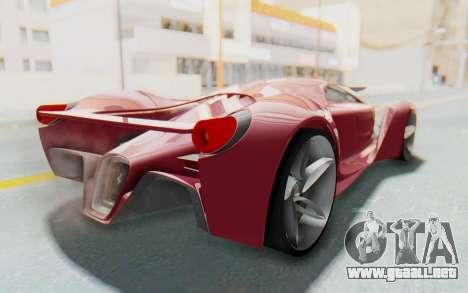 Ferrari F80 Concept para GTA San Andreas vista posterior izquierda