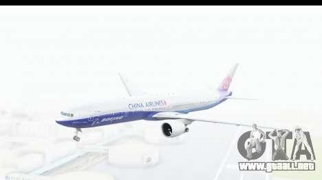 Boeing 777-300ER China Airlines Dreamliner para GTA San Andreas vista posterior izquierda